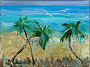 Palm Trees Mixed Media Prints - Three Palms Print by Elaine Elliott