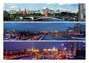 White Russian Posters - Three panoramas of Moscow Kremlin - Featured 3 Poster by Alexander Senin