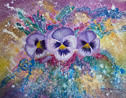 Invitation Card Mixed Media Posters - Three pansies acrylic painting Poster by Cristina Movileanu