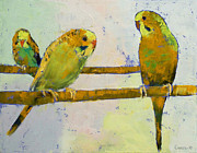 Impasto Posters - Three Parakeets Poster by Michael Creese