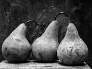 Pears Posters - Three Pear Still Life Black and White Poster by Edward Fielding
