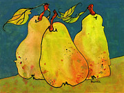 Pear Art Painting Framed Prints - Three Pears Art  Framed Print by Blenda Studio
