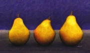 Jutta Pusl Prints - Three Pears Print by Jutta Maria Pusl