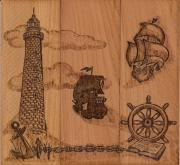 Sailing Ship Pyrography Posters - Three piece composition Poster by Vera White