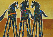 Western Abstract Painting Originals - Three Ponies by Lance Headlee