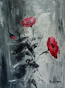 Three Poppies Print by Maria Karalyos
