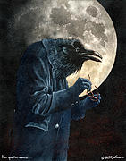 Full Moon Paintings - Three Quarter Moons And Near Sighted Ravens by Will Bullas