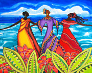 Flower Tapestries - Textiles Originals - Three Queens and Plumeria Caye Caulker Belize by Lee Vanderwalker