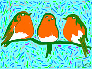 Three Robins Print by Anand Swaroop Manchiraju