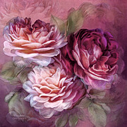 Vintage Rose Prints - Three Roses - Burgundy Print by Carol Cavalaris
