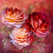 Peach Rose Prints - Three Roses - Red Print by Carol Cavalaris