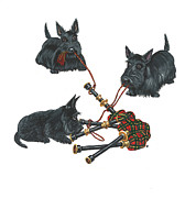 Scottish Terrier Paintings - Three Scotties and the Pipes by Margaryta Yermolayeva