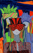 Apparel Mixed Media Prints - Three Sisters 2 Print by Patricia Saunders