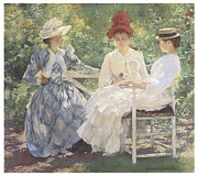 Victorian Dress Posters - Three Sisters-A Study in June Sunlight Poster by Edmund Charles Tarbell