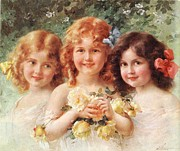 Little Girls Framed Prints - Three Sisters Framed Print by Emile Vernon