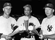 Mickey Mantle Photos - Three Slugging Outfielders by Underwood Archives