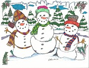 New Jersey Drawings Originals - Three Snowmen by Philip Blanche