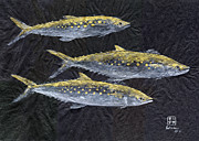 Gyotaku Prints - Three Spanish Mackerel Print by Odessa Kelley