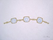Mother Jewelry - Three Stone Aquamarine Bracelet by Christine Corretti