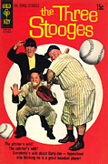 Base Ball Posters - Three Stooges Comic Book Cover Poster by The Three Stooges