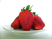 Juicy Strawberries Metal Prints - Three Strawberries Metal Print by Julie Palencia