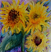 Brown Seeds Originals - Three Sunflowers by Beverley Harper Tinsley