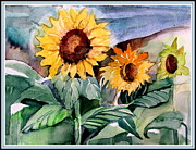 Warm Summer Drawings Posters - Three Sunflowers Poster by Mindy Newman