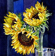 Watercolor Painting Prints - Three Sunny Flowers Print by Irina Sztukowski