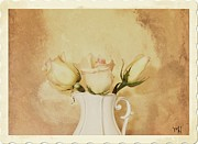 Pitcher Digital Art - Three Sweet Roses by Marsha Heiken
