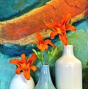 Photo Mixed Media Metal Prints - Three Tigerlilies in a Vase Metal Print by Marsha Heiken