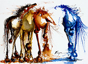 Mustang Paintings - Three to One by Terry Meyer