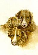 Nan Wright Prints - Three Toller Dogs Print by Nan Wright