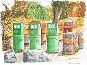 National Parks Paintings - Three-trash-cans-in-Yosemite-National-Park-CA by Carlos G Groppa