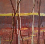 The View Mixed Media - Three tree view by Zsuzsanna Donnell