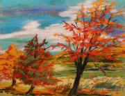 Autumn Landscape Drawings - Three Trees Changing by John  Williams