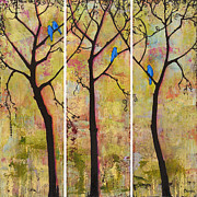 Bluebird Painting Metal Prints - Three Trees Triptych Metal Print by Blenda Studio