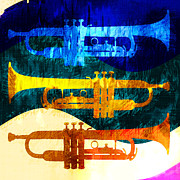 Trumpet Digital Art Posters - Three Trumpets Poster by David G Paul