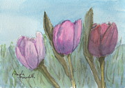 Pamela Meredith Framed Prints - Three Tulips  Framed Print by Pamela  Meredith