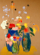 Vase Paintings - Three Vases of Flowers by Odilon Redon