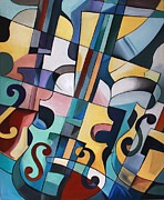 Violins Paintings - Three Violins  by Kate Snig