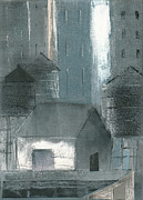 Three Watertowers Blue And Gray Print by Steve Dininno