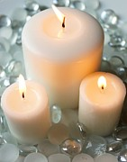 Candle Lit Prints - Three White Candles Print by Kerri Mortenson