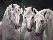 White Horses Painting Framed Prints - Three White Horses Framed Print by Laurie Hein