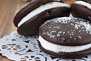 Goods Framed Prints - Three Whoopie Pies or Moon Pies Framed Print by Stephanie Frey