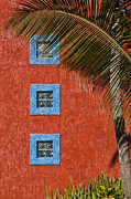 Abstract Palm Tree Prints - Three Windows Print by Adam Romanowicz