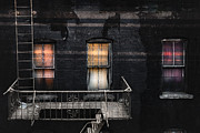 New York City Fire Escapes Posters - Three windows and ladder - As seen from the Manhattan bridge Poster by Gary Heller