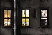 Voyeuristic Framed Prints - Three windows and pipe - The story behind the windows Framed Print by Gary Heller