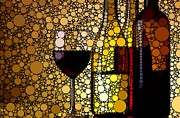 Party Art - Three Wines by Cindy Edwards