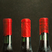 Red Wine Bottle Painting Posters - Three Wines Poster by Lincoln Seligman
