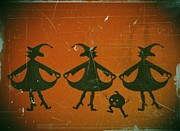 Silhouettes Mixed Media Prints - Three Witches Vintage Print by David Dehner